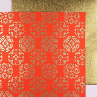 Double Color Washi Takumi Kessho rot-gold 15 cm, 5 Blatt